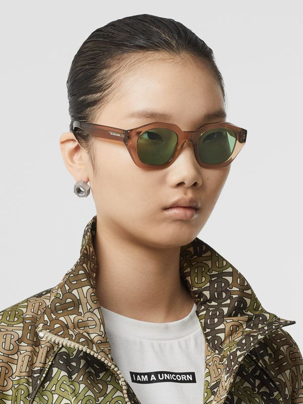 Geometric Frame Sunglasses in Brown - Women | Burberry United Kingdom - cell image 2