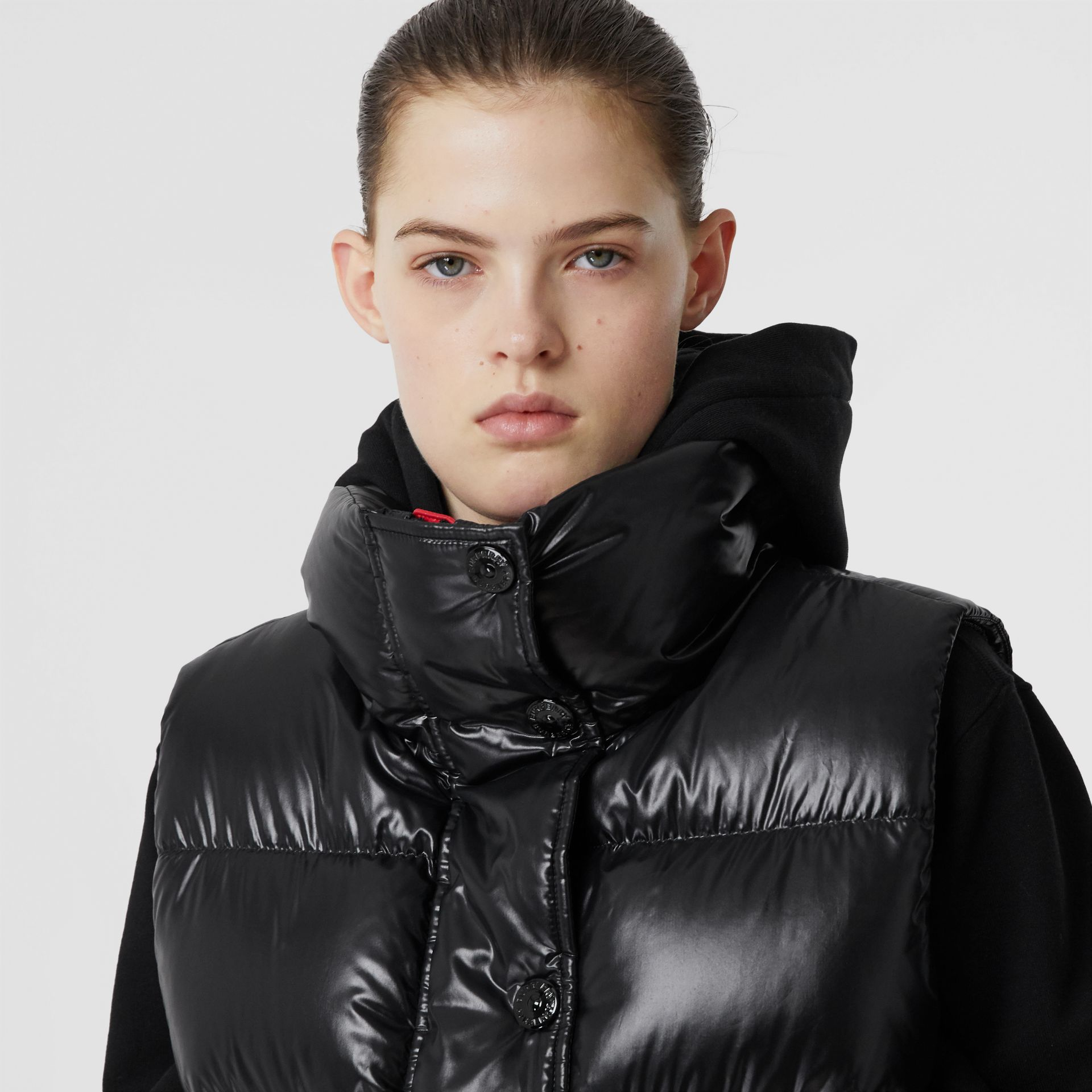 Logo Graphic Puffer Gilet in Black - Women | Burberry - gallery image 4