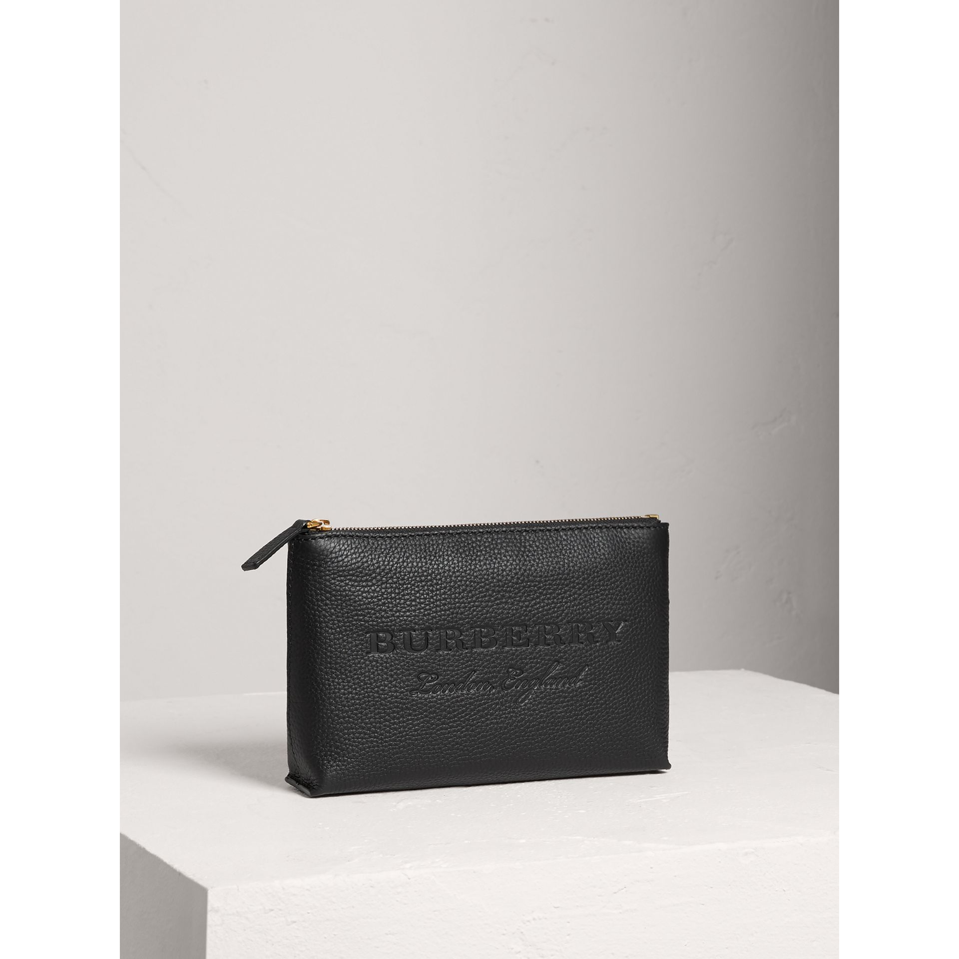 Medium Embossed Leather Zip Pouch in Black | Burberry United States - gallery image 4