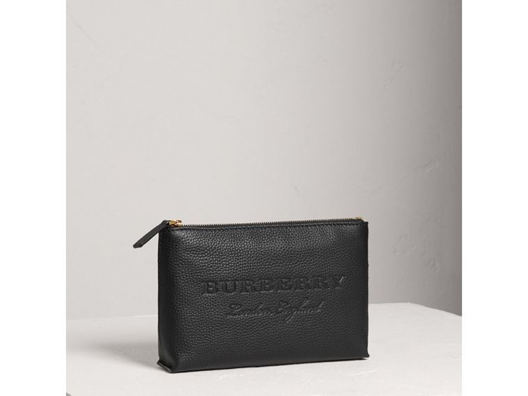 Medium Embossed Leather Zip Pouch in Black | Burberry United States - cell image 4