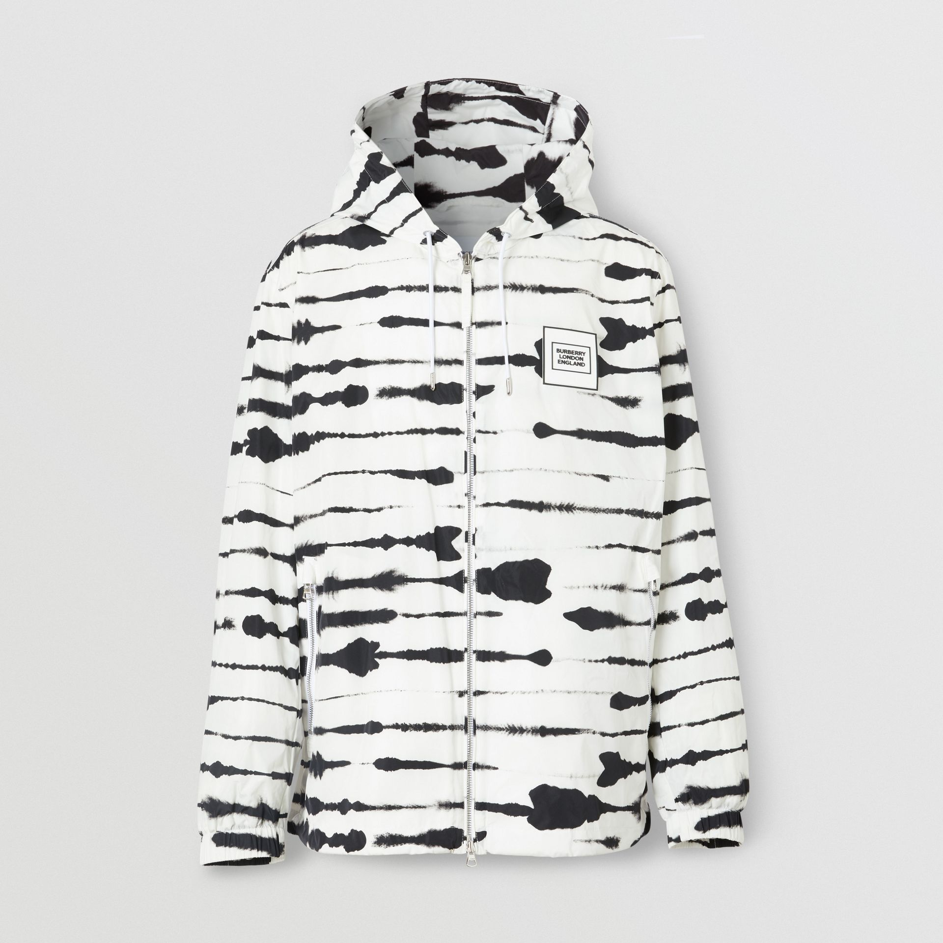 Logo Appliqué Watercolour Print Hooded Jacket in Monochrome - Men | Burberry - gallery image 3