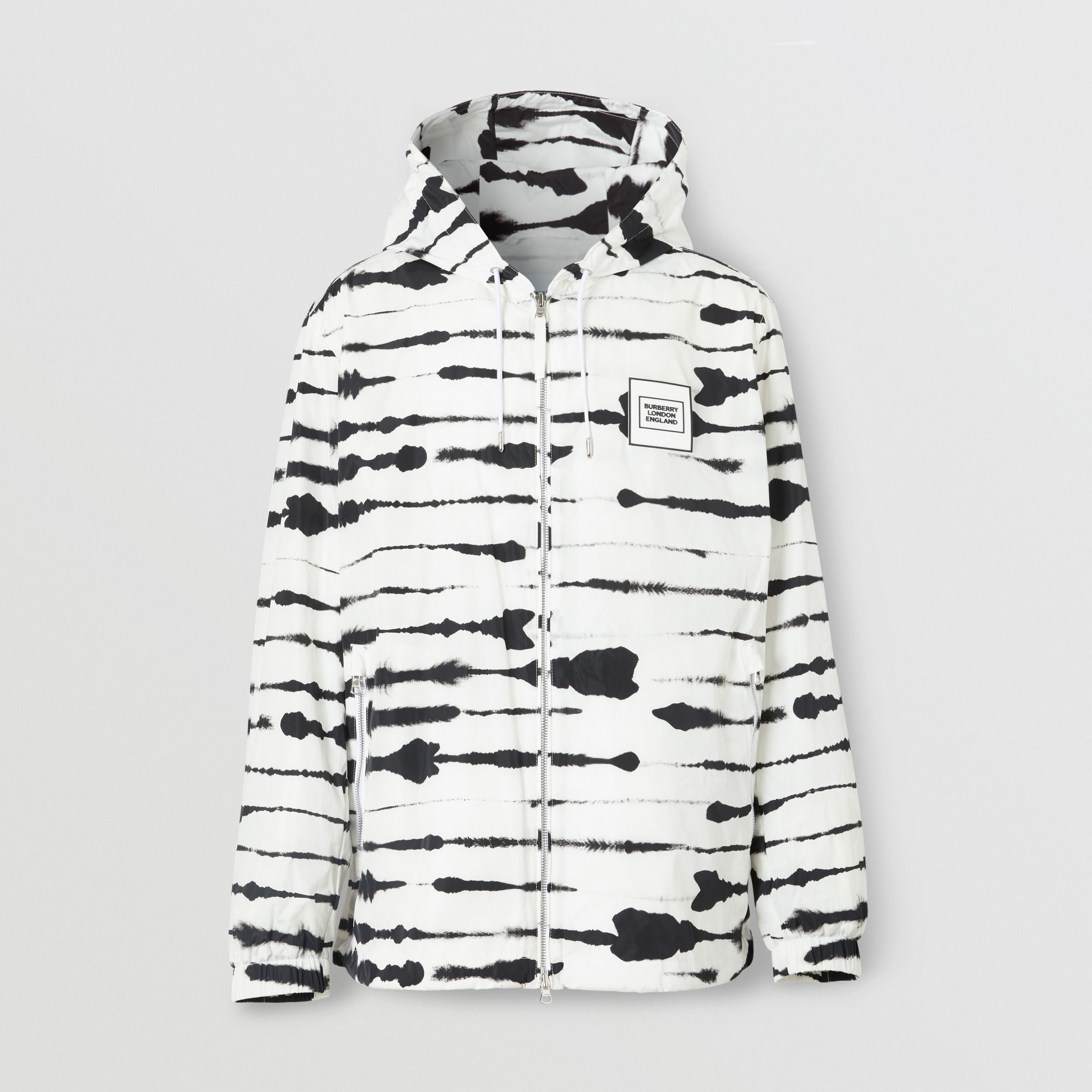 Logo Appliqué Watercolour Print Hooded Jacket in Monochrome - Men | Burberry Canada - 4