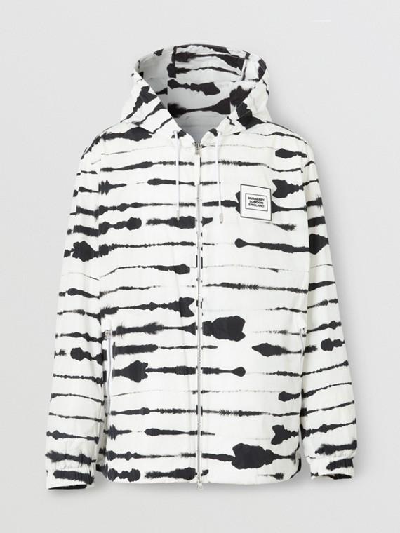 Logo Appliqué Watercolour Print Hooded Jacket in Monochrome