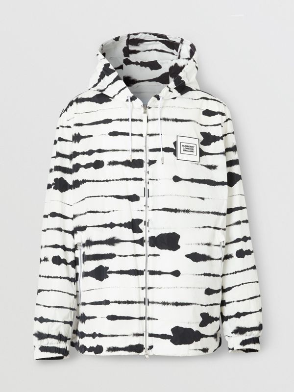 Logo Appliqué Watercolour Print Hooded Jacket in Monochrome - Men | Burberry - cell image 3