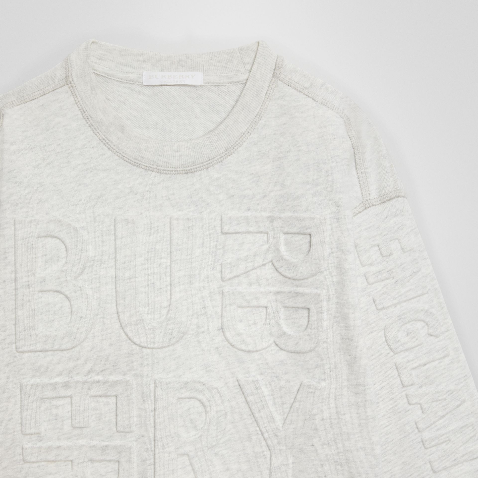 Embossed Logo Cotton Sweatshirt in White Melange | Burberry - gallery image 4