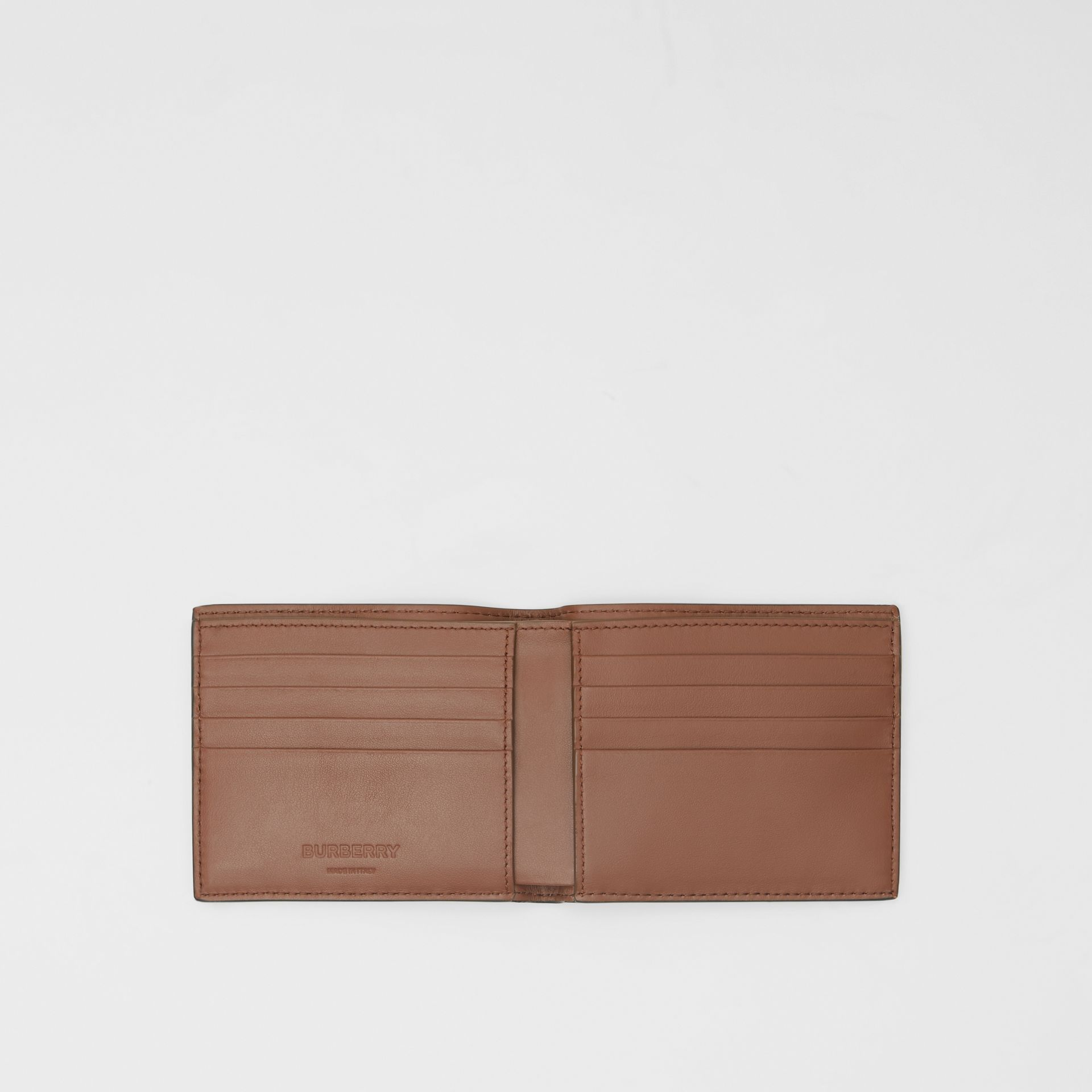 Monogram Leather International Bifold Wallet in Dark Tan - Men | Burberry Australia - gallery image 2