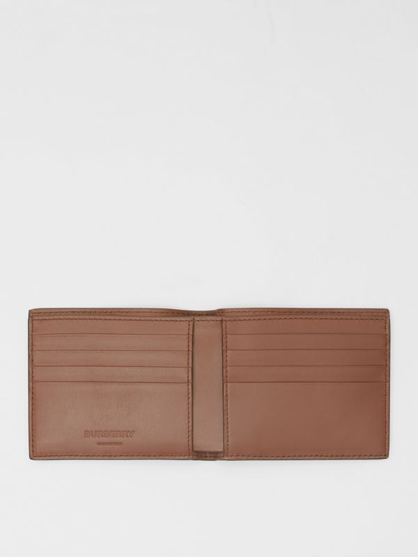 Monogram Leather International Bifold Wallet in Dark Tan - Men | Burberry - cell image 2