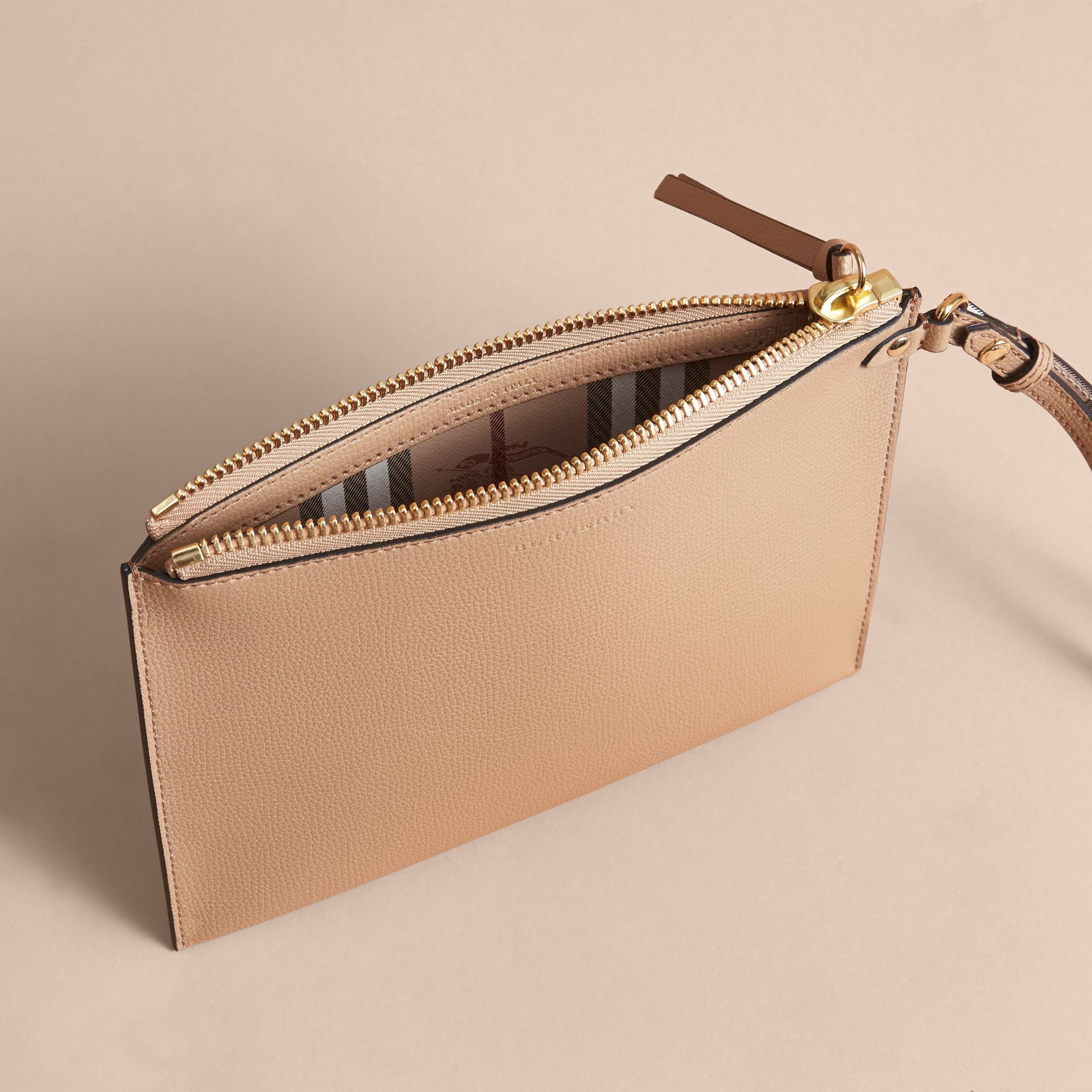 Haymarket Check and Leather Pouch in Mid Camel - Women | Burberry - gallery image 5
