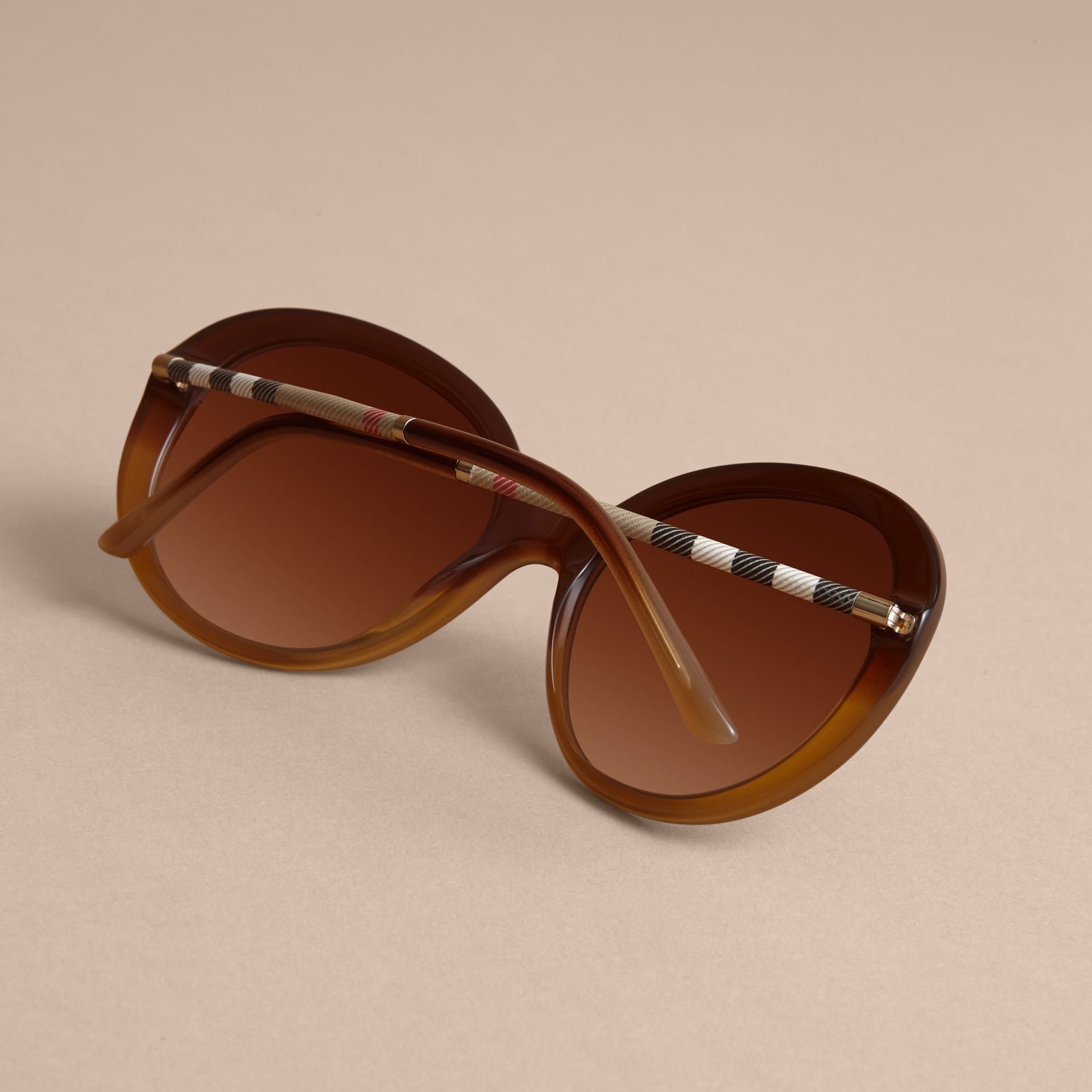 Check Detail Round Frame Sunglasses in Amber - Women | Burberry - gallery image 4