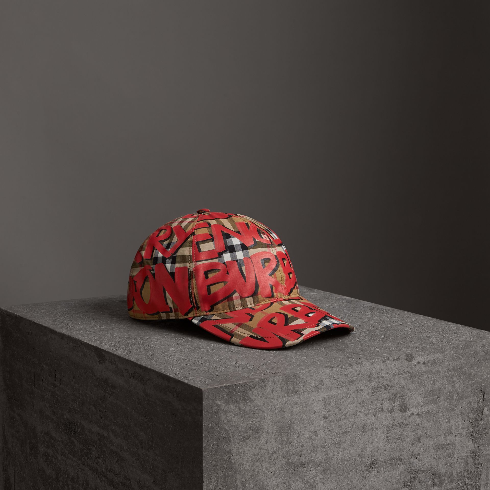 Graffiti Print Vintage Check Baseball Cap in Red | Burberry - gallery image 0