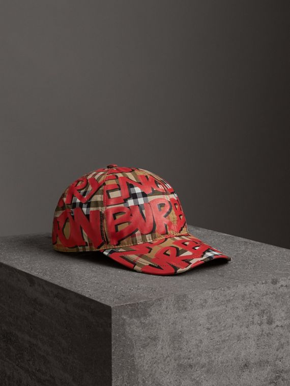Graffiti Print Vintage Check Baseball Cap in Red