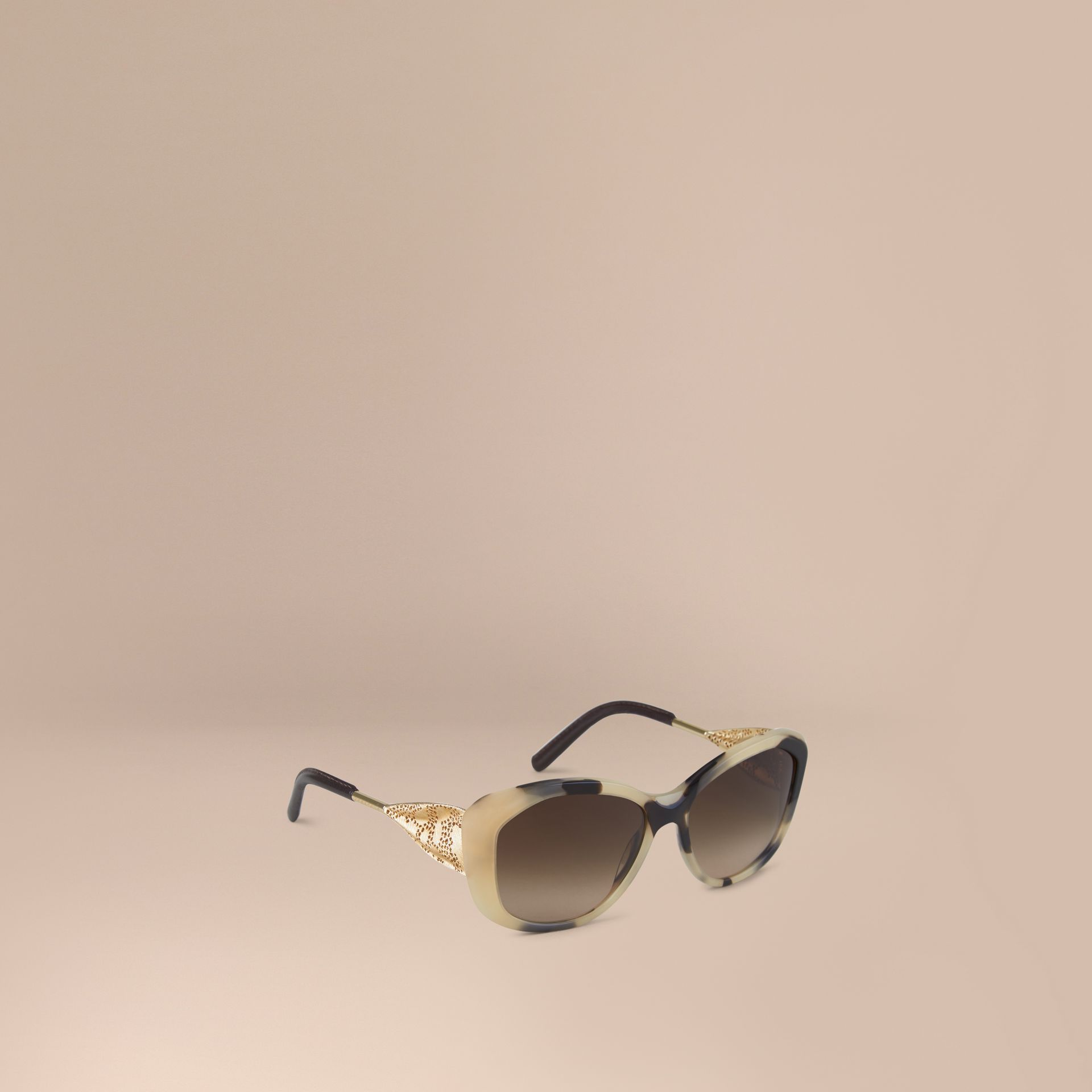Gabardine Lace Collection Square Frame Sunglasses in Mid Tone Horn - gallery image 1