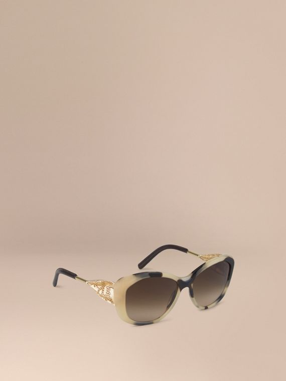 Gabardine Lace Collection Square Frame Sunglasses Mid Tone Horn