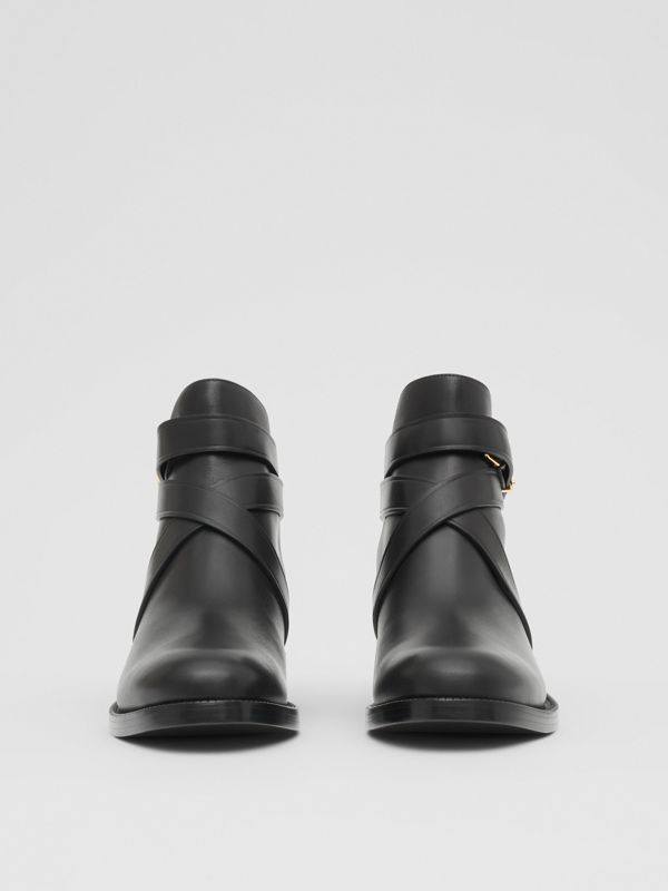 Monogram Motif Leather Ankle Boots in Black - Women | Burberry - cell image 3