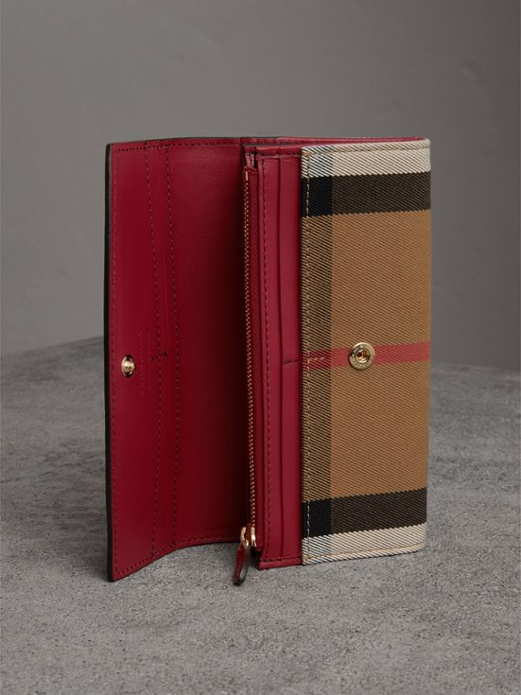 House Check and Leather Continental Wallet in Russet Red - Women | Burberry - cell image 3