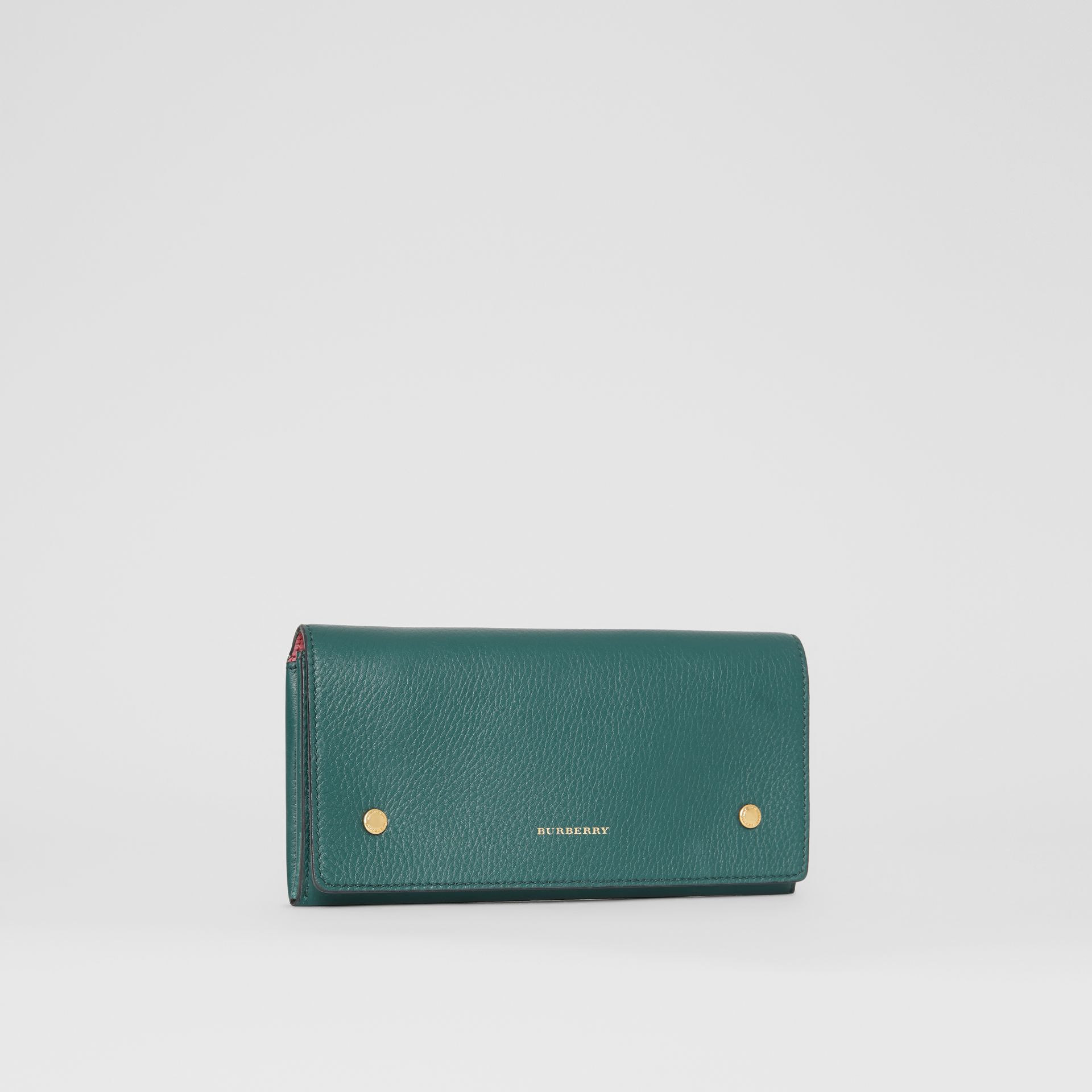Two-tone Leather Continental Wallet in Dark Cyan - Women | Burberry United Kingdom - gallery image 4