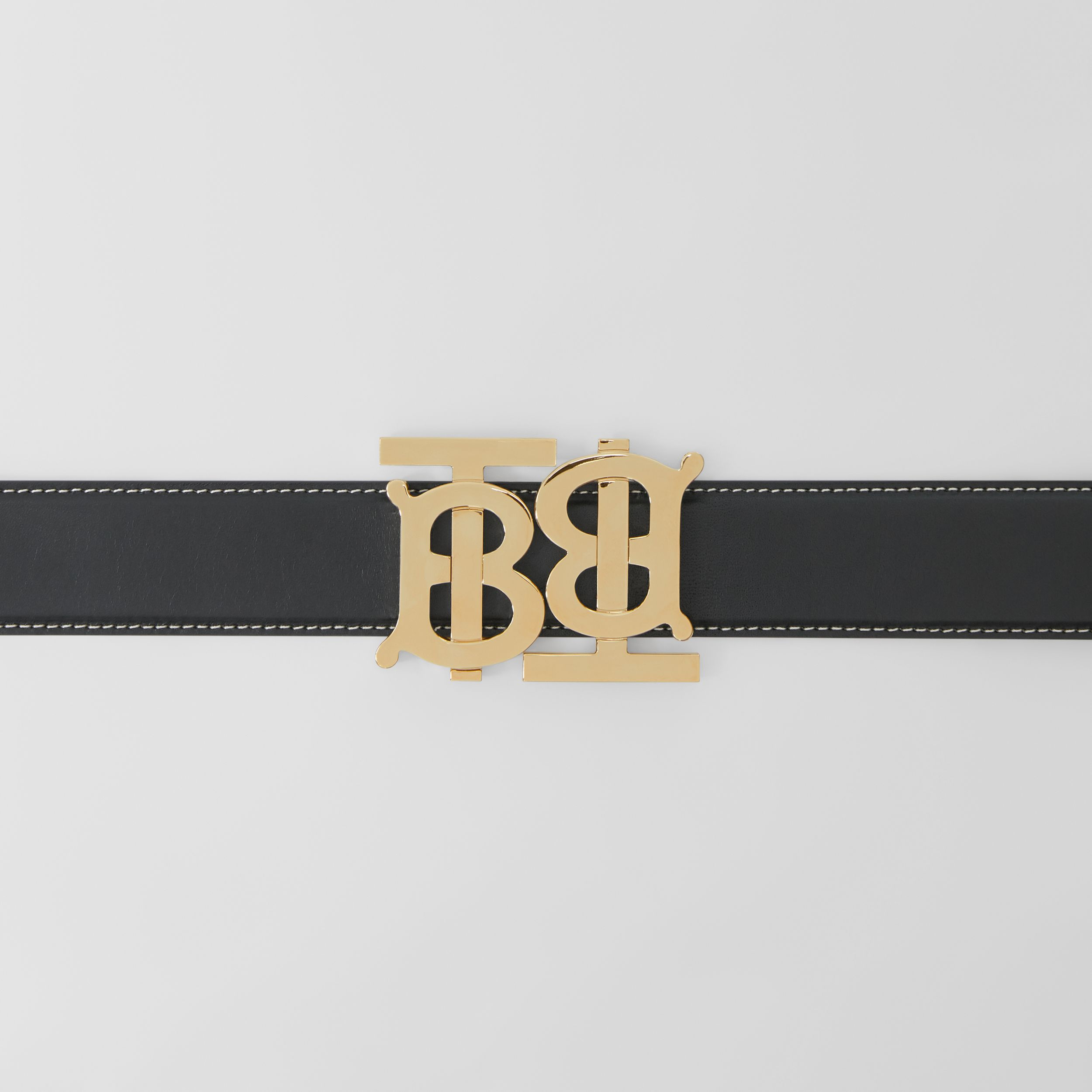 Double Monogram Motif Leather Belt in Black - Women | Burberry - 2