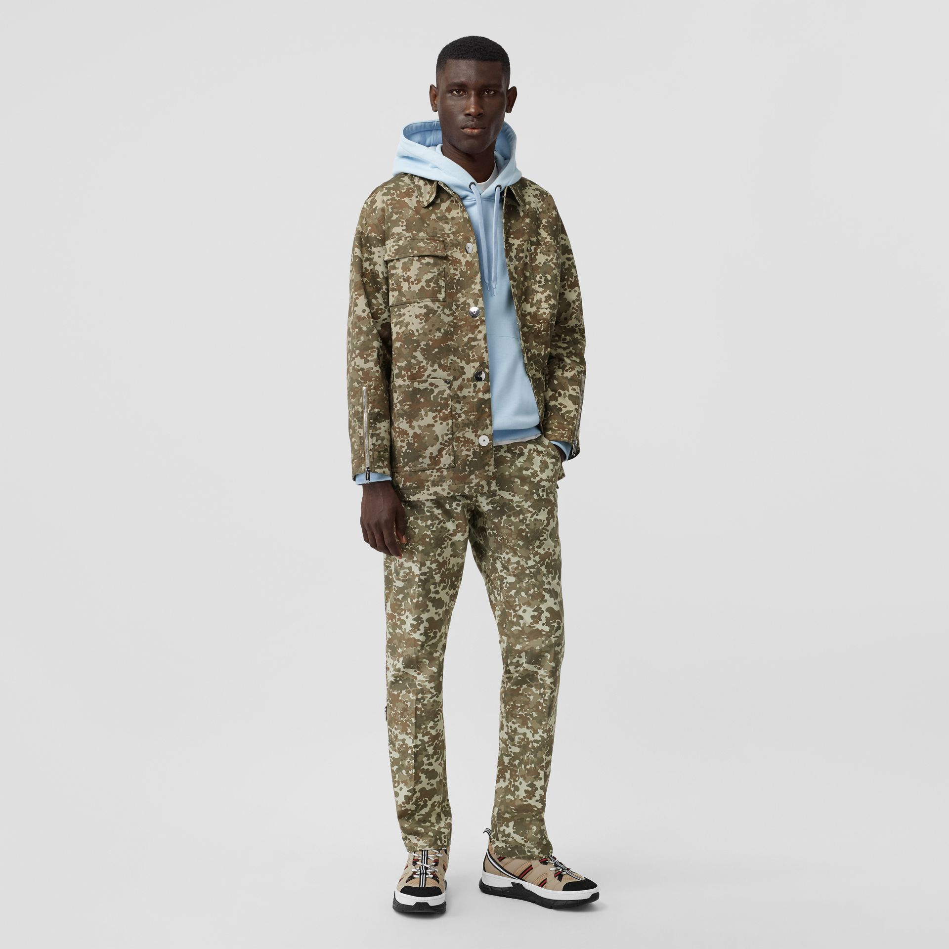 Camouflage Print Cotton Gabardine Field Jacket in Khaki Green - Men | Burberry Canada - gallery image 0