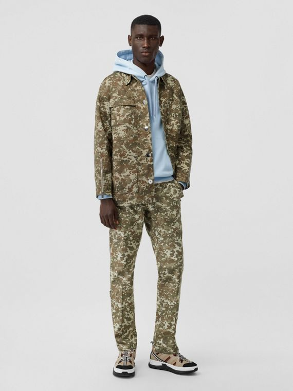 Camouflage Print Cotton Gabardine Jacket in Khaki Green