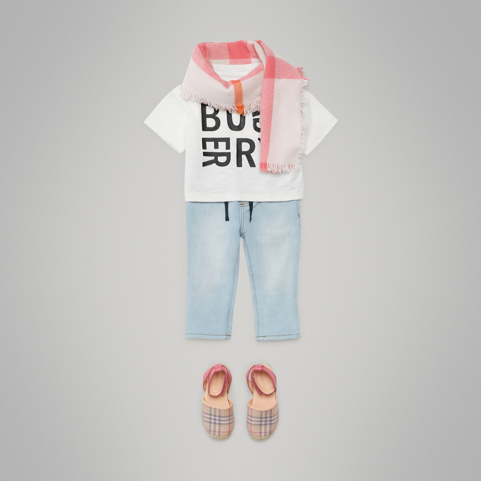 Logo Print Cotton T-shirt in White - Children | Burberry Canada - gallery image 3