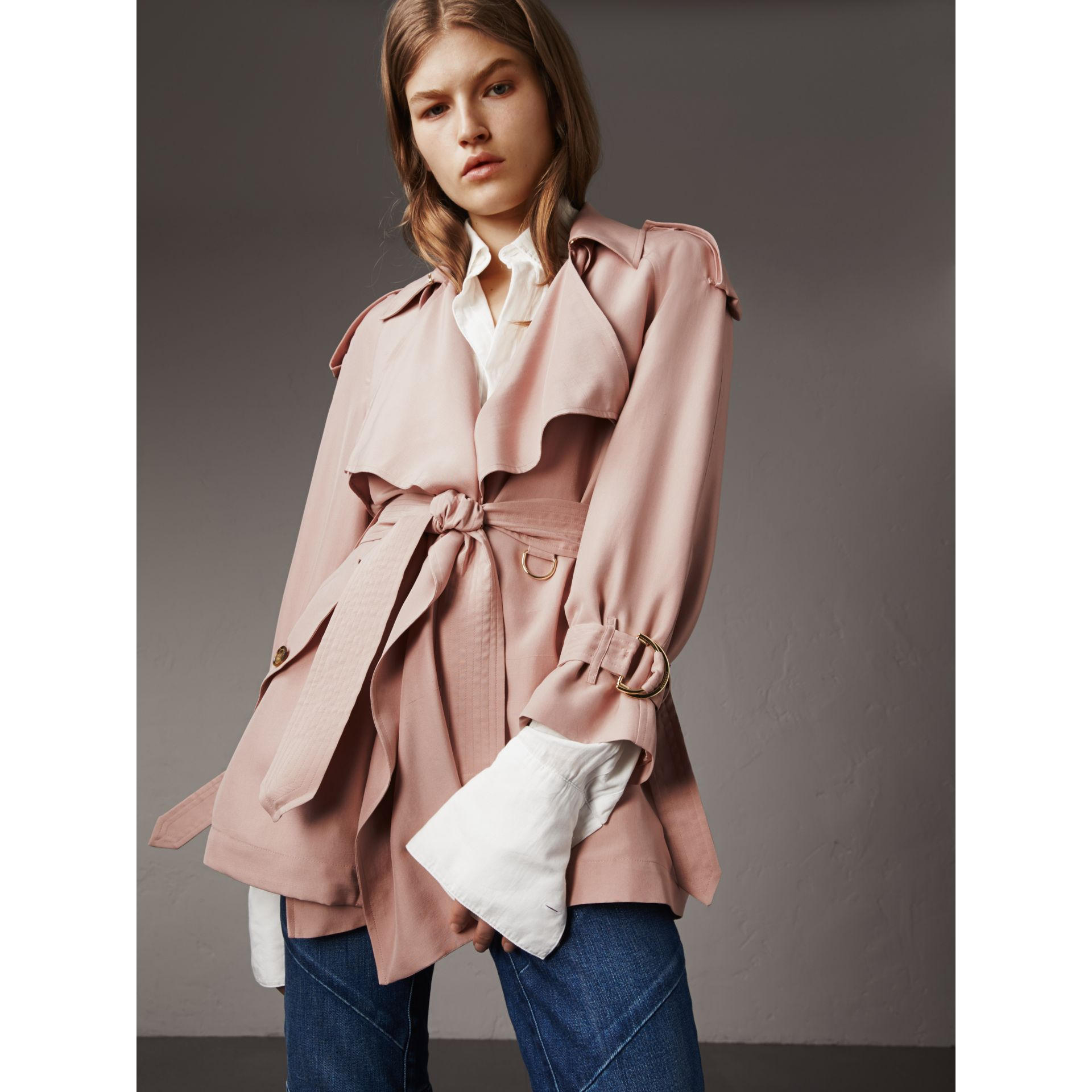 Silk Wrap Trench Coat in Ash Rose - gallery image 6