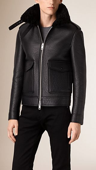 Shearling Trim Lambskin Aviator Jacket