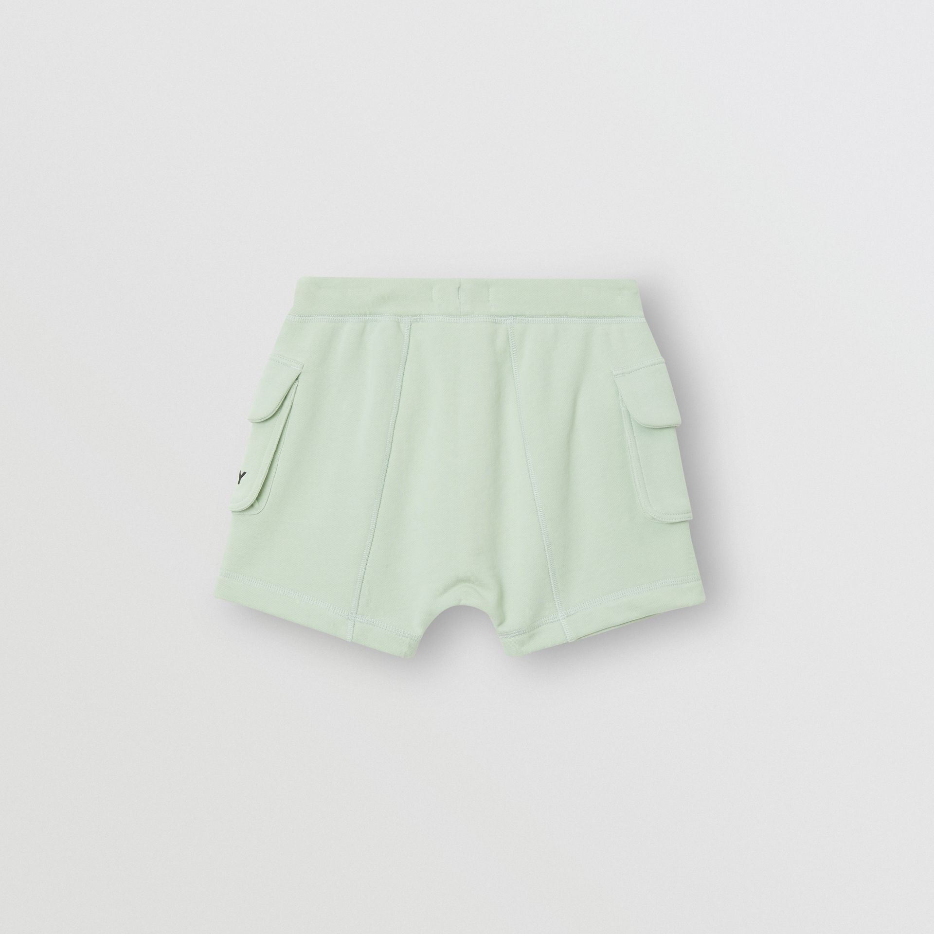 Logo Print Cotton Drawcord Shorts in Pale Mint | Burberry - gallery image 3