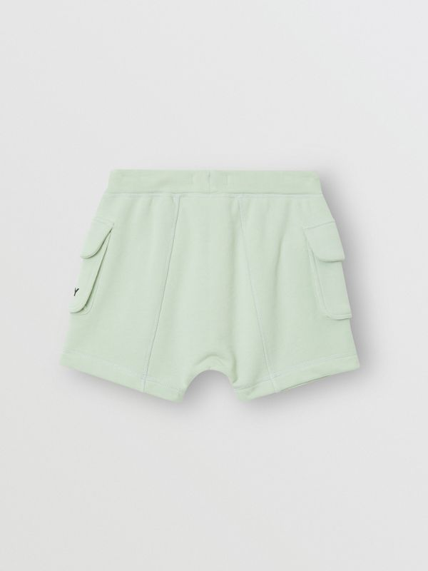 Logo Print Cotton Drawcord Shorts in Pale Mint | Burberry - cell image 3