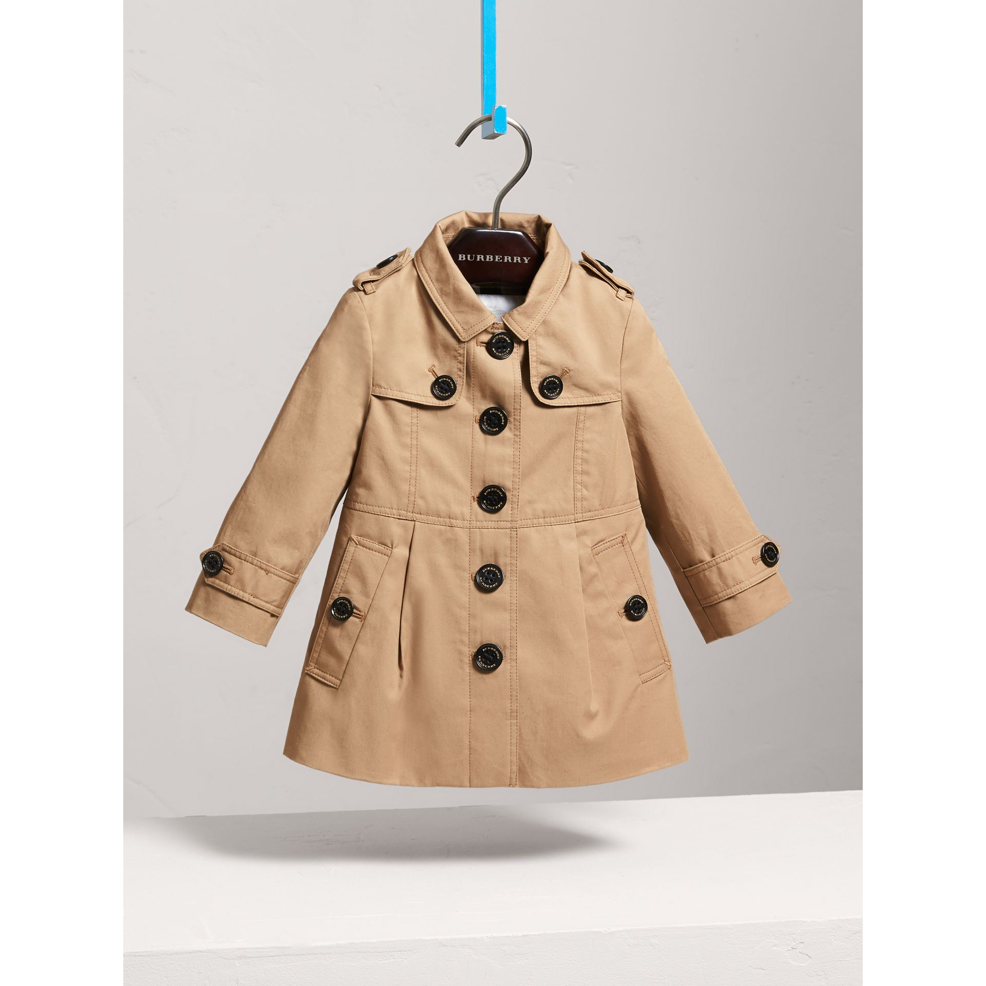 Cotton Single-breasted Trench Coat in Honey - Children | Burberry Australia - gallery image 0