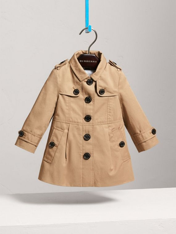 Trench coat monopetto in cotone (Miele)