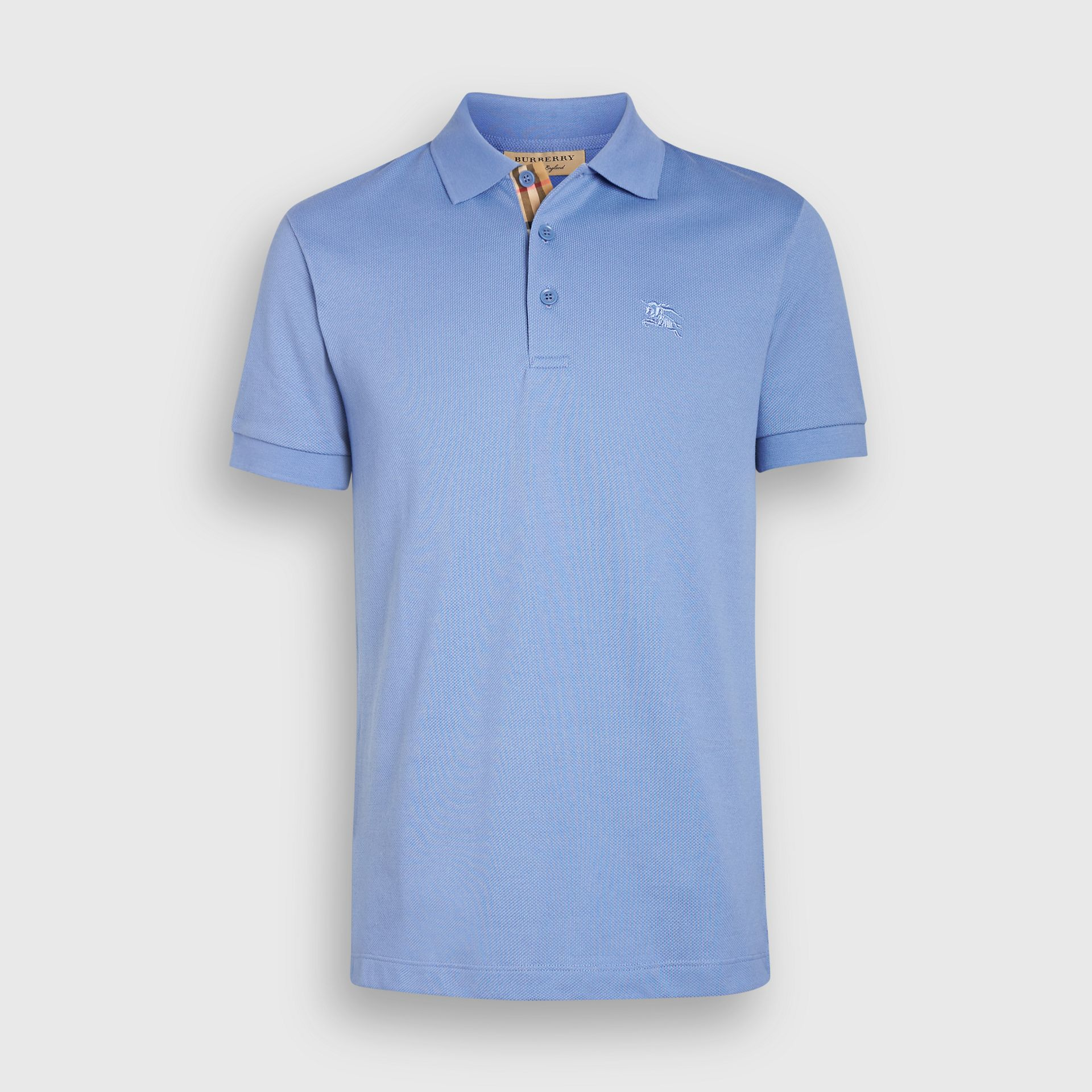 Check Placket Cotton Piqué Polo Shirt in Light Blue - Men | Burberry - gallery image 3