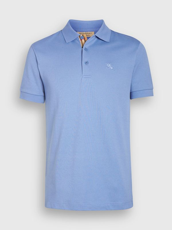 Check Placket Cotton Piqué Polo Shirt in Light Blue - Men | Burberry - cell image 3