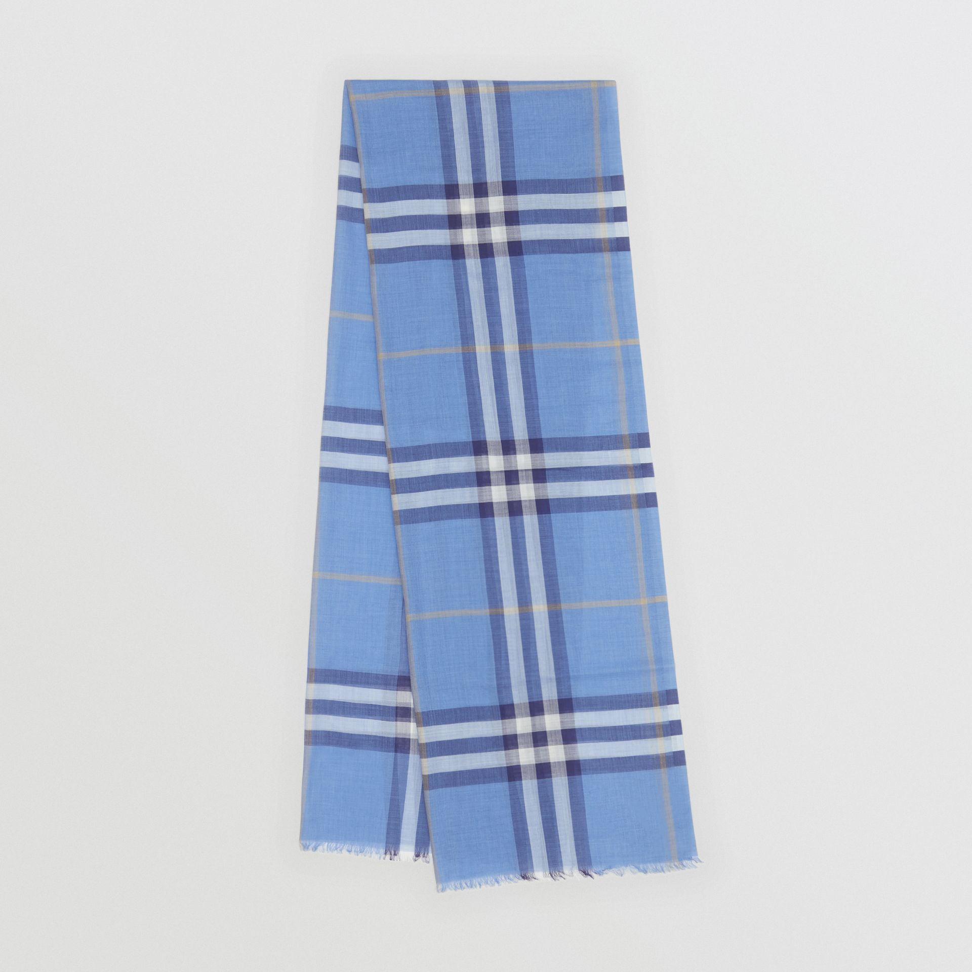 Lightweight Check Wool Silk Scarf in English Bluebell | Burberry United States - gallery image 0