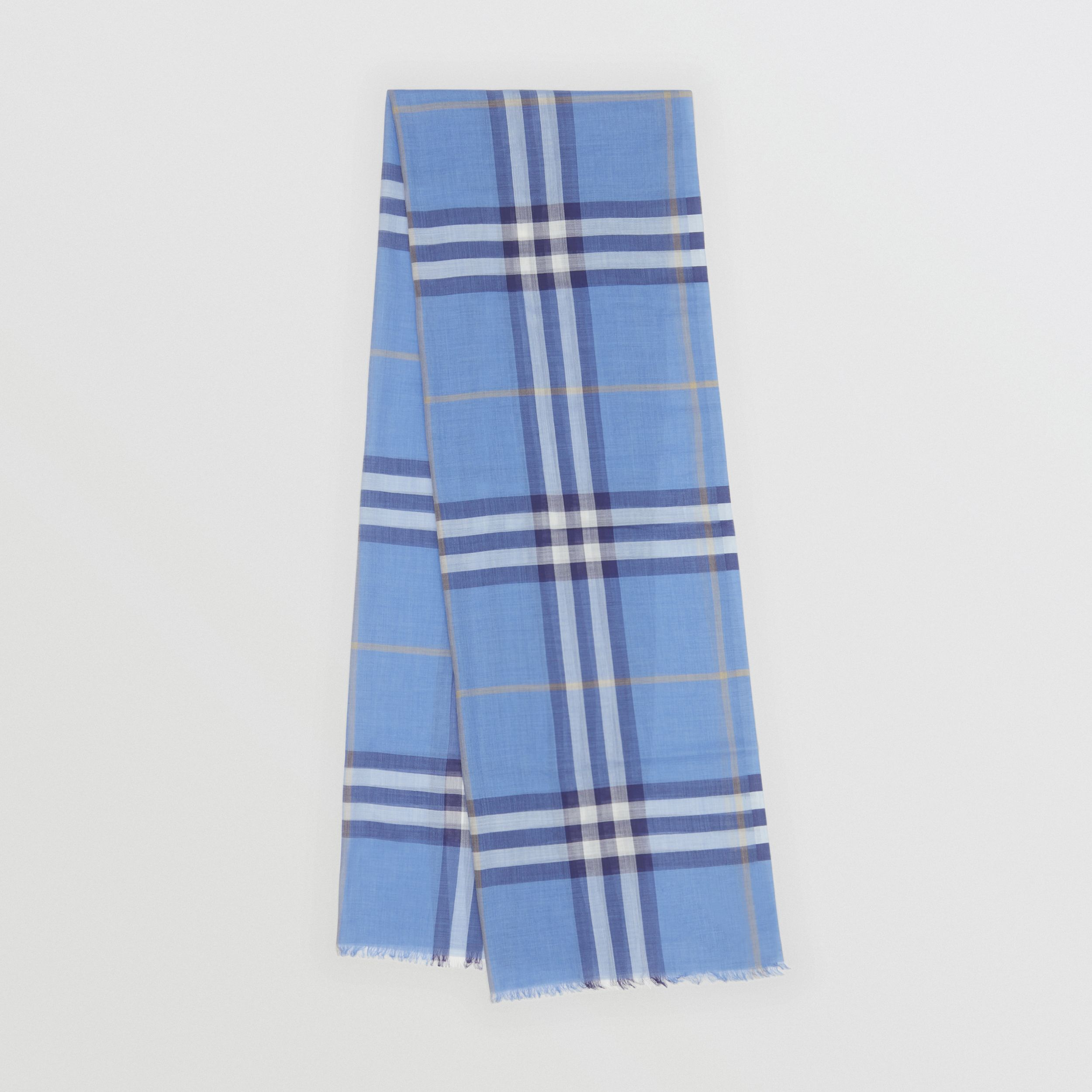 Lightweight Check Wool Silk Scarf in English Bluebell | Burberry United Kingdom - 1