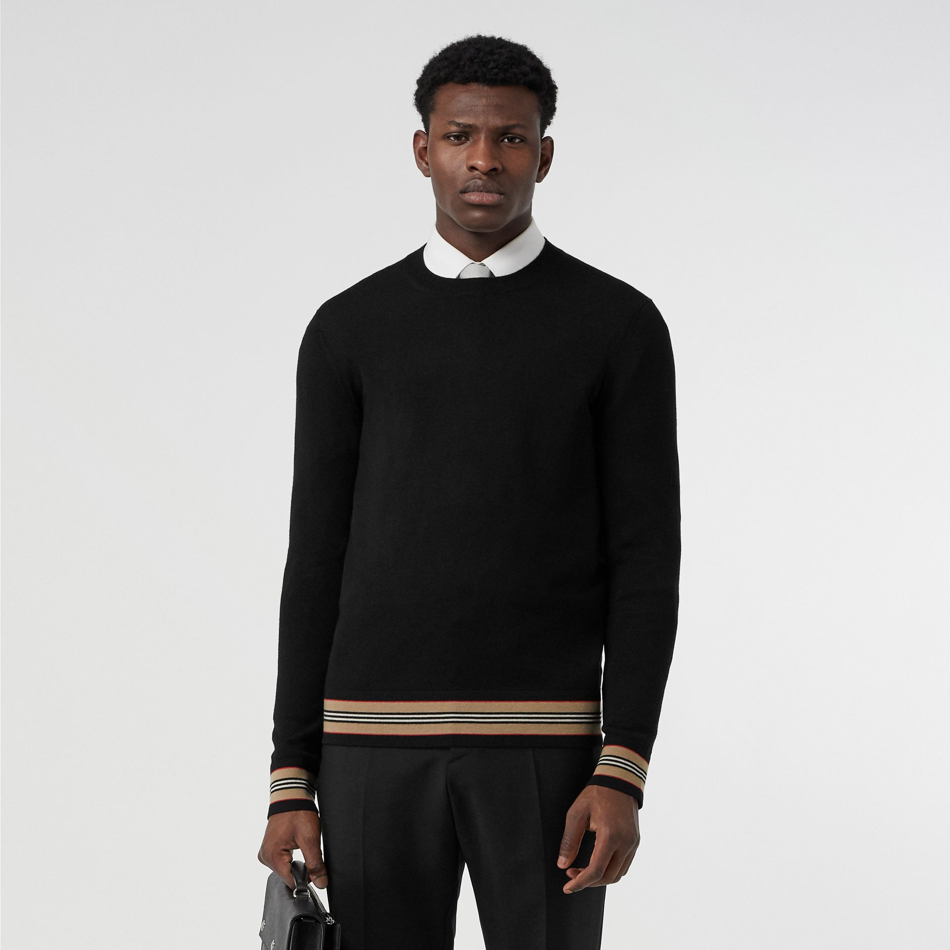 Icon Stripe Detail Merino Wool Sweater in Black - Men | Burberry Canada - gallery image 3