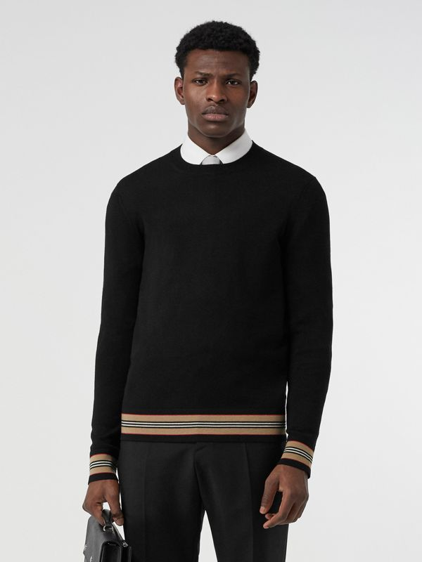 Icon Stripe Detail Merino Wool Sweater in Black - Men | Burberry - cell image 3