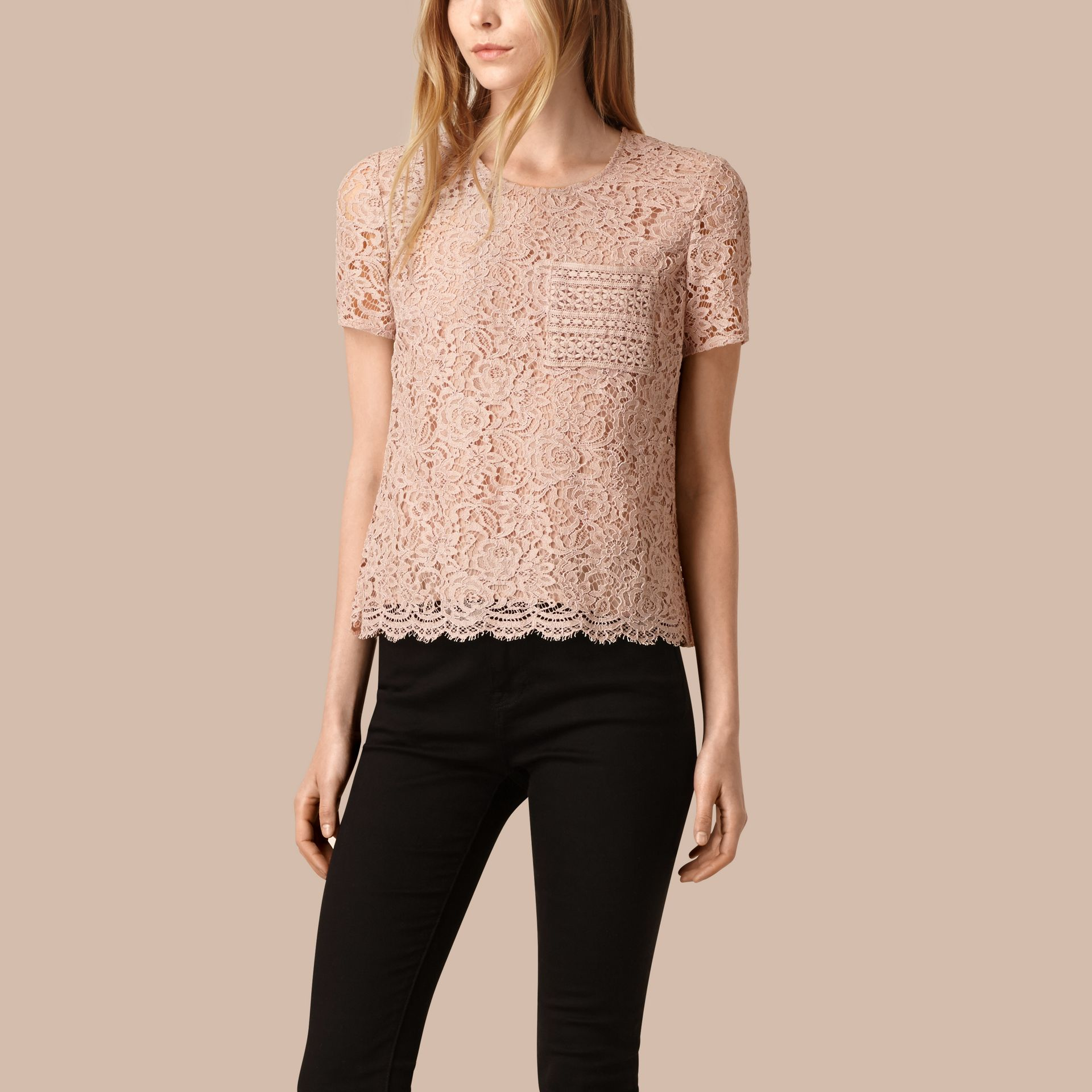 Antique taupe pink Corded Lace T-shirt - gallery image 1