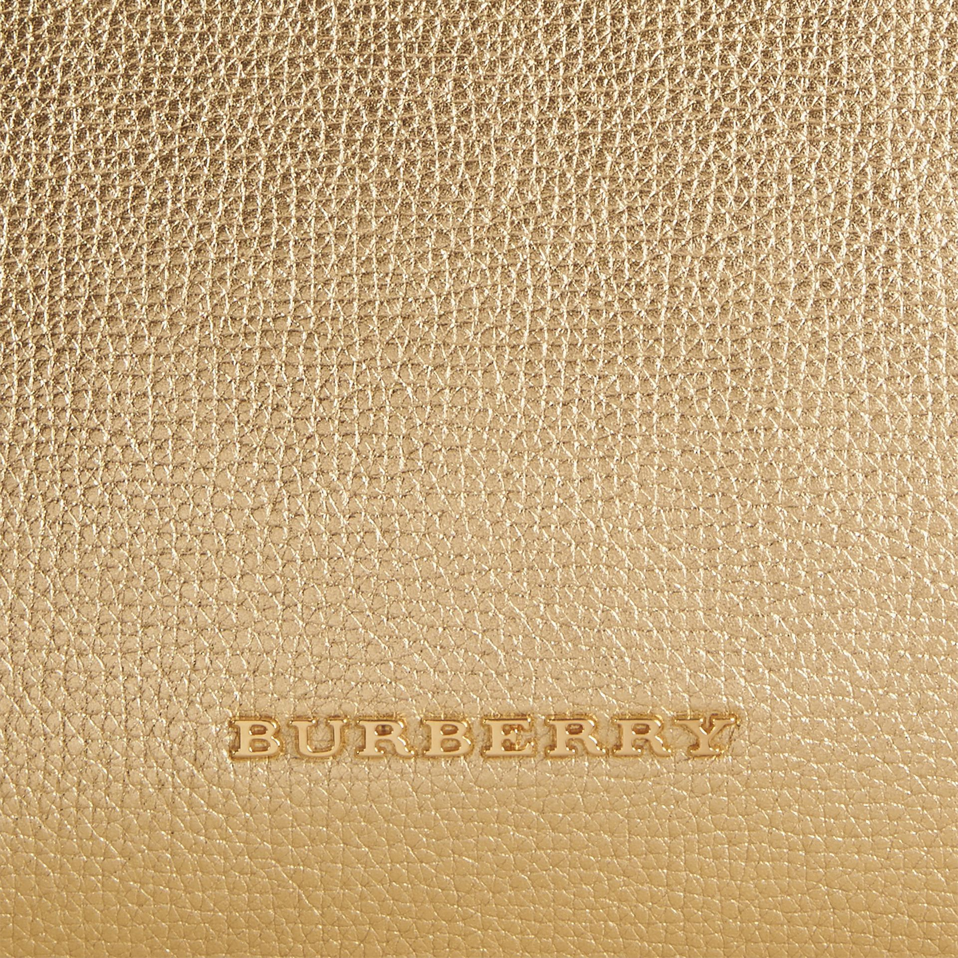 The Medium Banner in Leather and House Check - gallery image 2