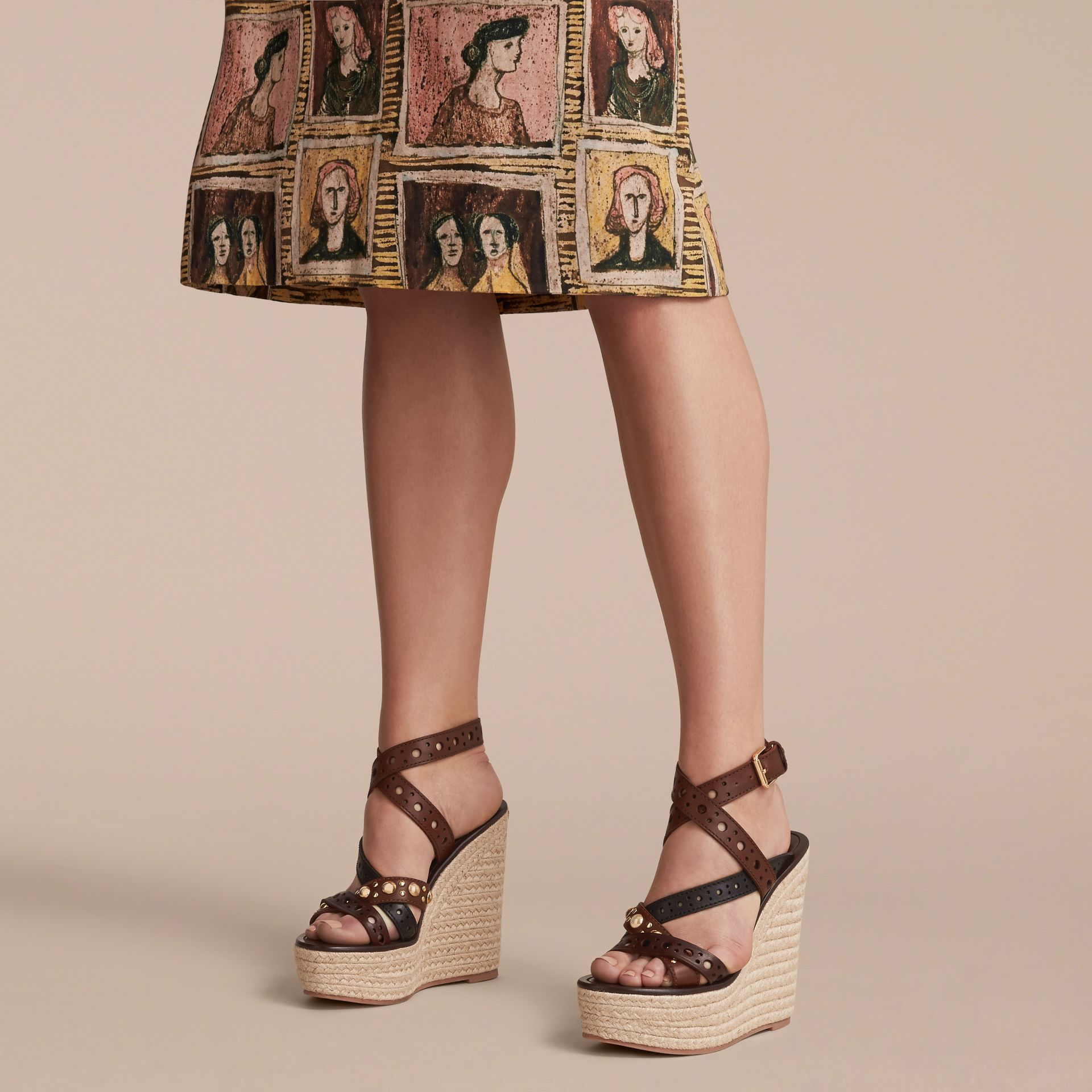Riveted Leather Platform Espadrille Wedge Sandals - gallery image 3