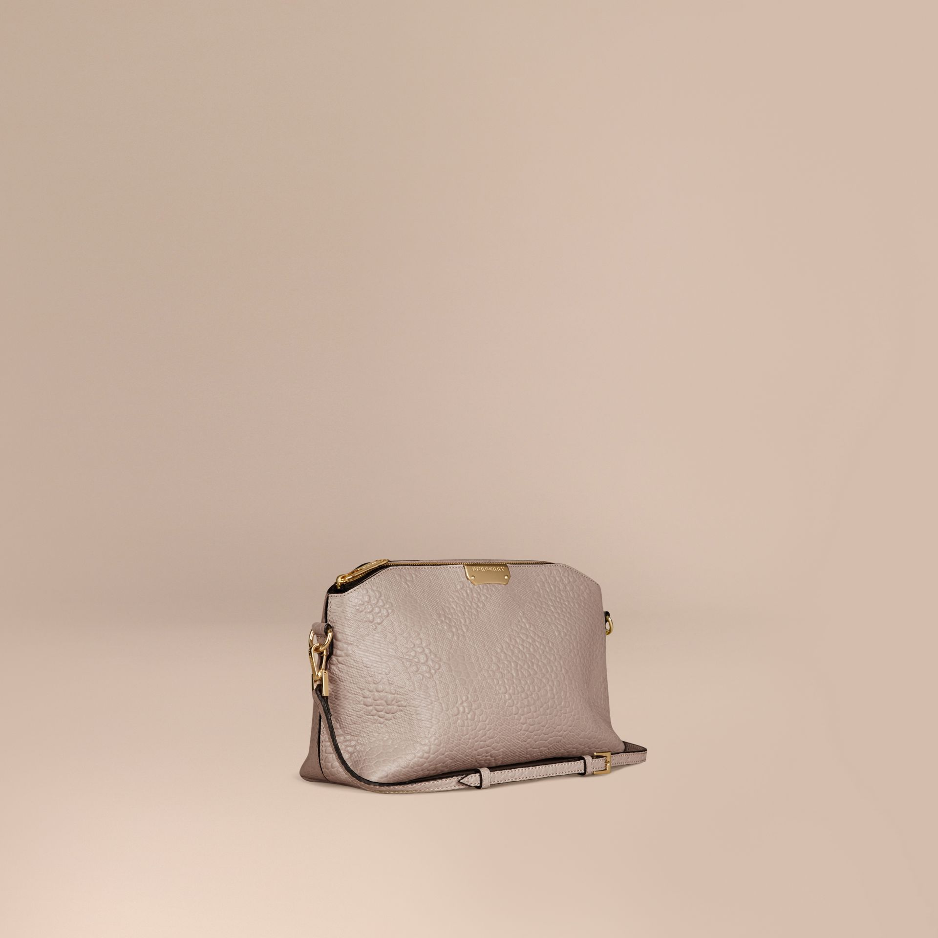 Small Embossed Check Leather Clutch Bag in Pale Grey - gallery image 1