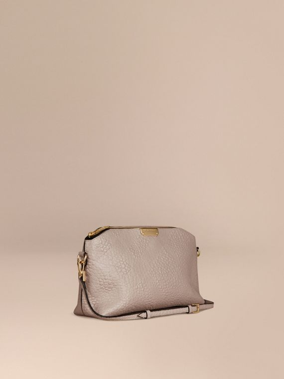 Small Embossed Check Leather Clutch Bag Pale Grey