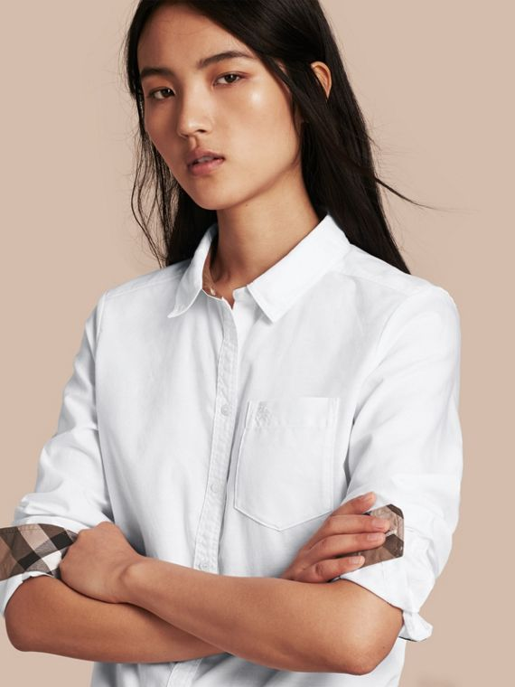 Check Detail Cotton Shirt Optic White