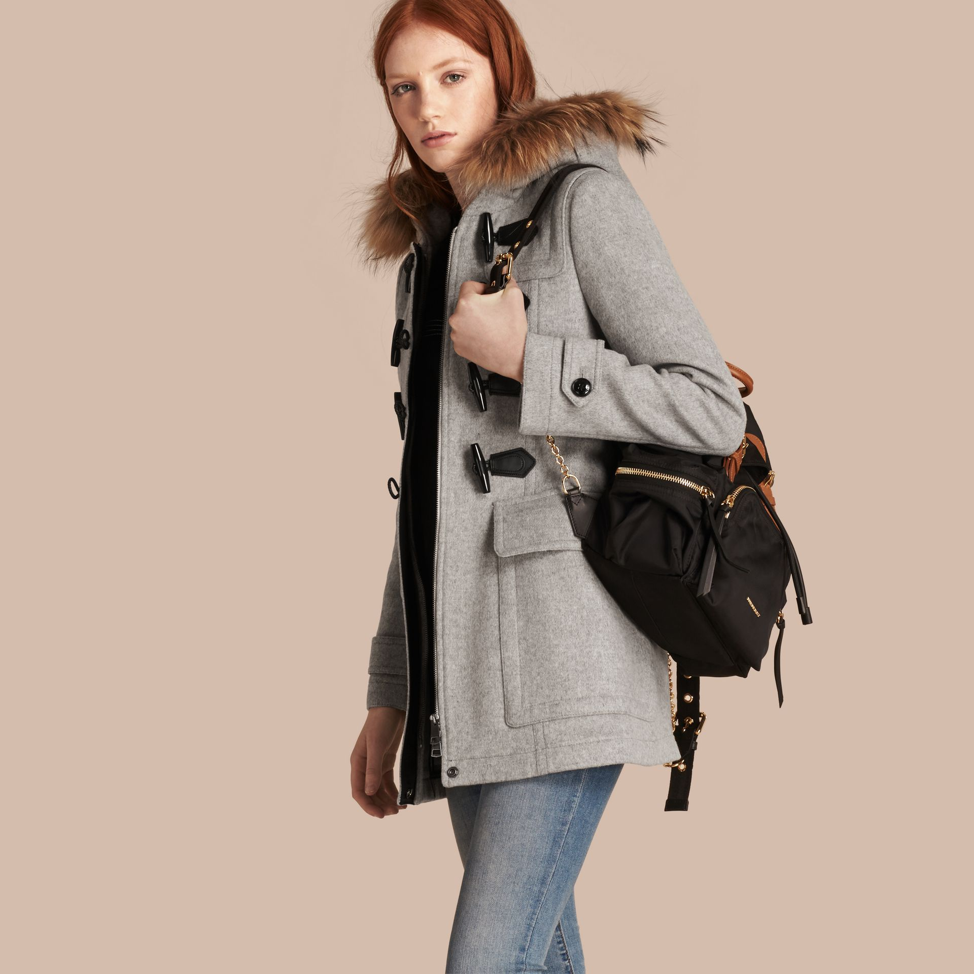 Light grey melange Wool Duffle Coat with Detachable Fur Trim - gallery image 1