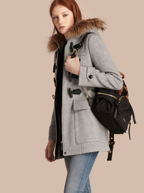 Wool Duffle Coat with Detachable Fur Trim