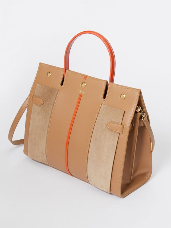 Medium Leather and Suede Title Bag in Warm Camel - Women | Burberry - cell image 3