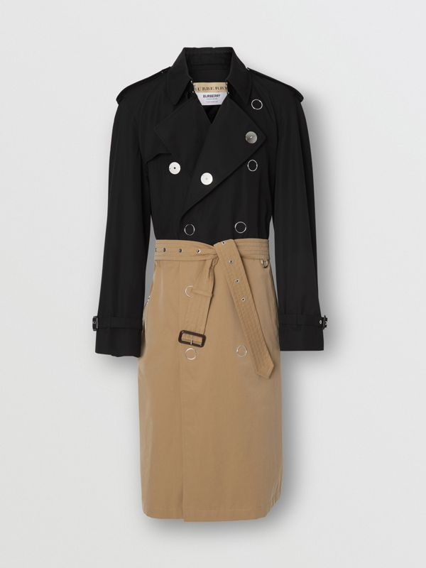 Two-tone Cotton Gabardine Trench Coat in Black | Burberry Australia - cell image 3