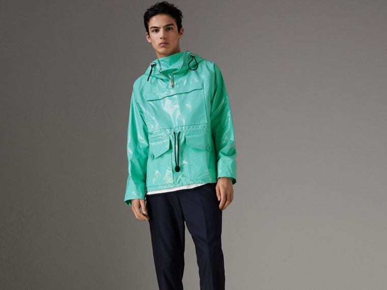 Laminated Cotton Anorak in Aqua Blue - Men | Burberry - cell image 4