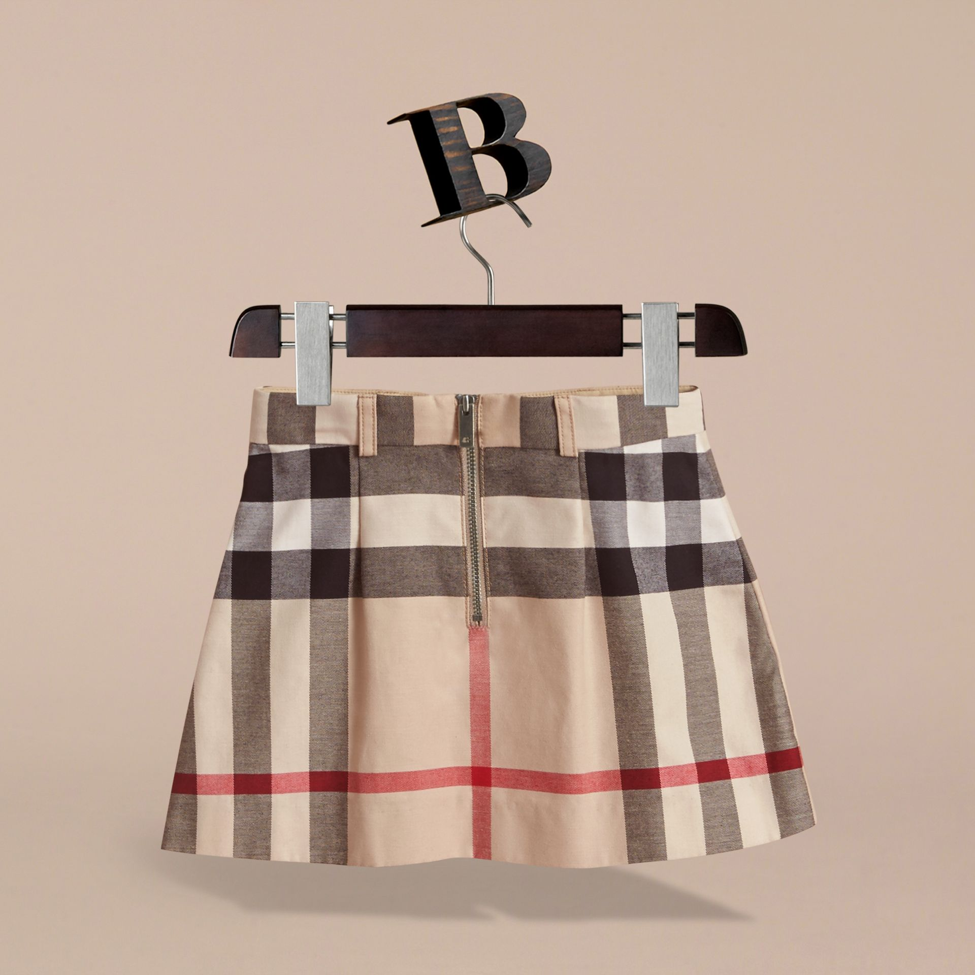 Pleated Check Cotton Skirt in Stone - Girl | Burberry - gallery image 4