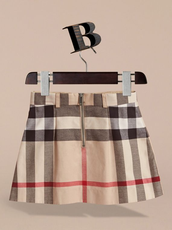 Pleated Check Cotton Skirt in Stone - Girl | Burberry United States - cell image 3