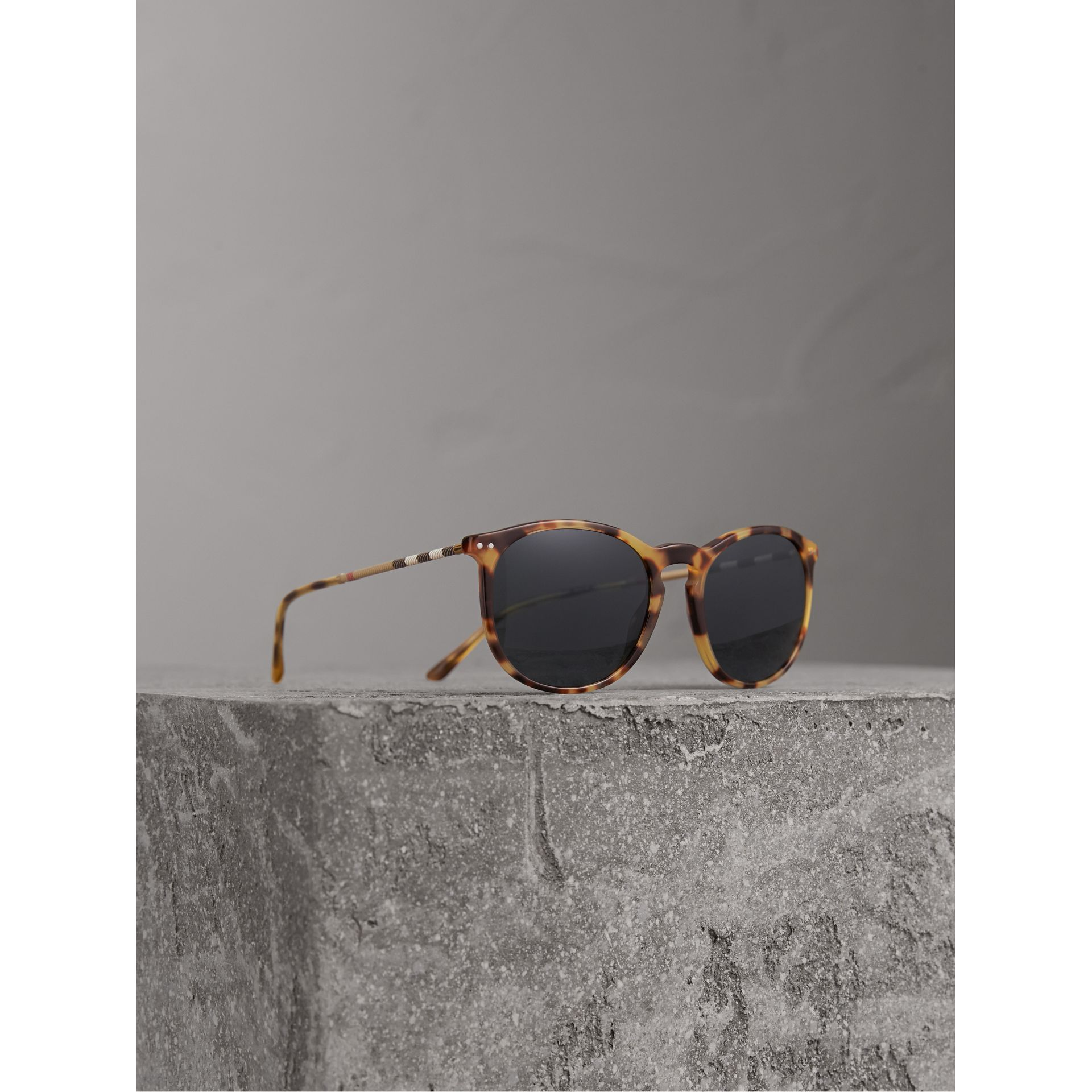 Check Detail Round Frame Sunglasses in Dark Brown - Men | Burberry Australia - gallery image 1